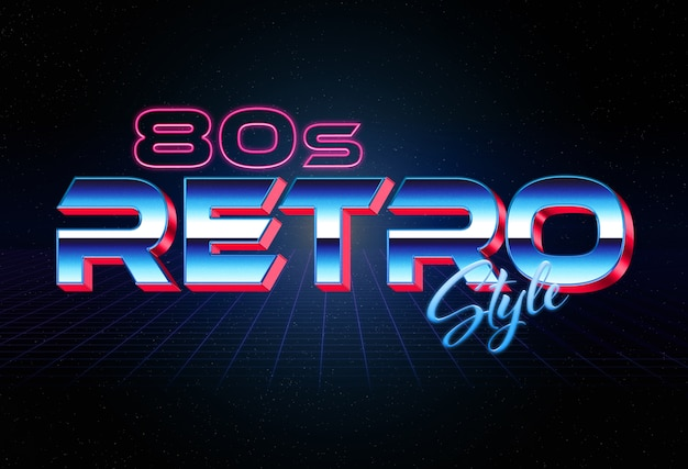 80s 3d retro style text effect