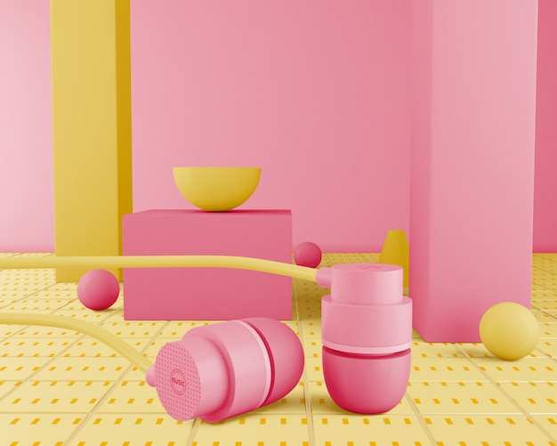 80s minimalistic pink earphones