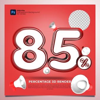 85パーセント3dレンダリングの赤い色と要素