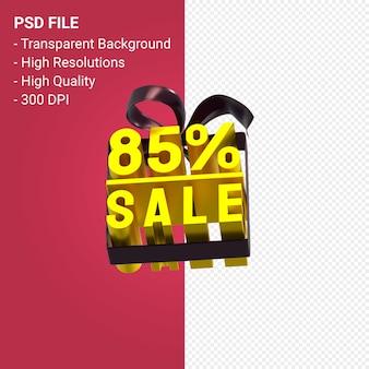 85% распродажа с бантом и лентой 3d-дизайн на изолированном фоне