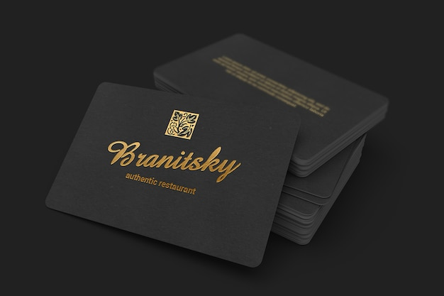 85x55 black business card stack mockup