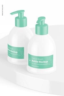 9.3 oz hand wash bottles mockup, on surface