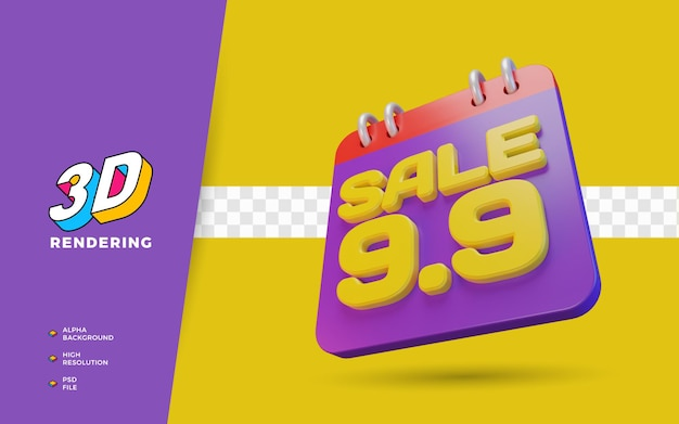 9.9 쇼핑 일 할인 판매 판촉 3d 렌더링 개체
