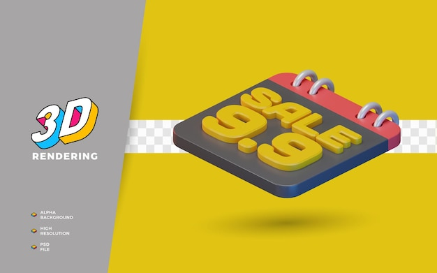 9.9 쇼핑 일 할인 판매 프로모션 3d 렌더링