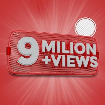 900万人の加入者3dレンダリング