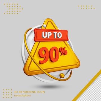 고립 된 3d 렌더링에서 90 % 3d 여름 할인 제공