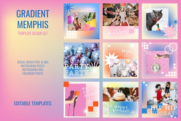90's funky celebration template psd photo attachable social media post set