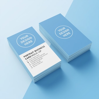 Готов к использованию премиум два стека 90x50 мм вертикальный портрет визитная карточка шаблон макета в верхнем 3/4 просмотра
