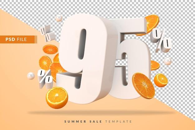 95-процентная летняя распродажа с разрезанными апельсинами в 3d-рендере Premium Psd