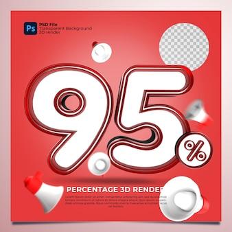 95パーセント3dレンダリングの赤い色と要素