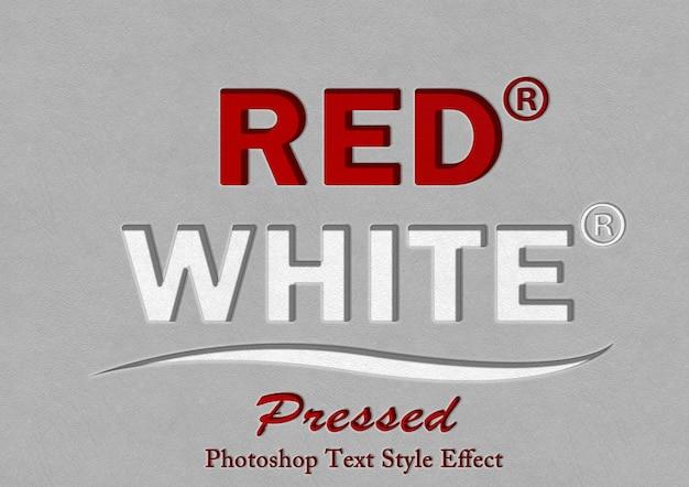 赤と白の押されたテキスト効果