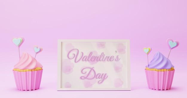 カップケーキとバレンタインデーの白いフレームモックアップ
