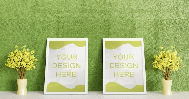Пара белая рамка макет стоя на белом полу с парой декоративных растений. горизонтальная рамка