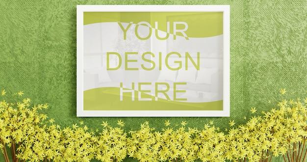 Вертикальная белая рамка макет на стене зеленой искусственной травы