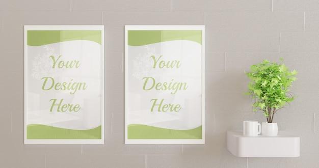 Белые рамки макет на стену с декоративным растением