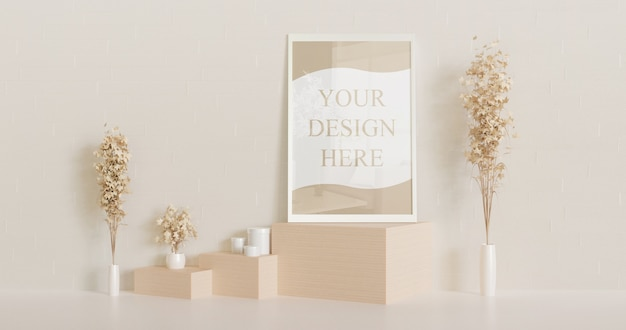 木製の机の上に立っているプレミアムホワイトフレームモックアップ