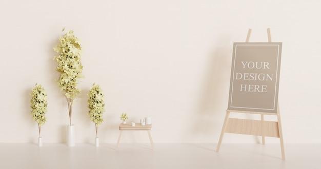 装飾植物が付いているイーゼル上のキャンバスのモックアップ
