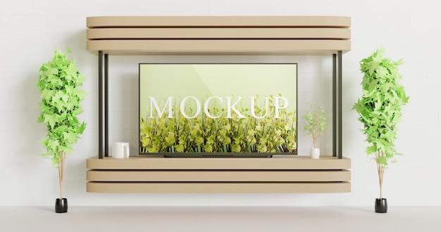 壁に取り付けられた木製のテーブルの画面テレビのモックアップ