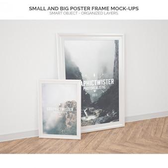 大小のポスターフレームモックアップ