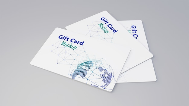 Белая подарочная карта кредитная карта макет укладки на серый стол