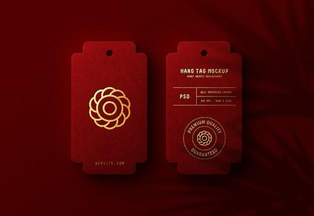 Роскошный логотип макет на красной бирке повесить