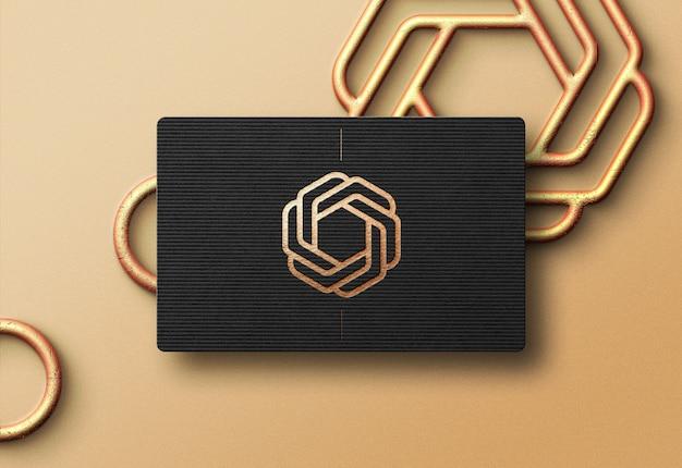 黒のビジネスカードのモダンなロゴのモックアップ