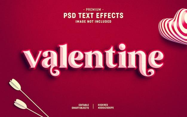 Шаблон текстового эффекта ко дню святого валентина