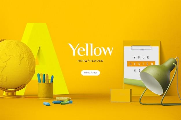 Пользовательская сцена в заголовке желтого героя