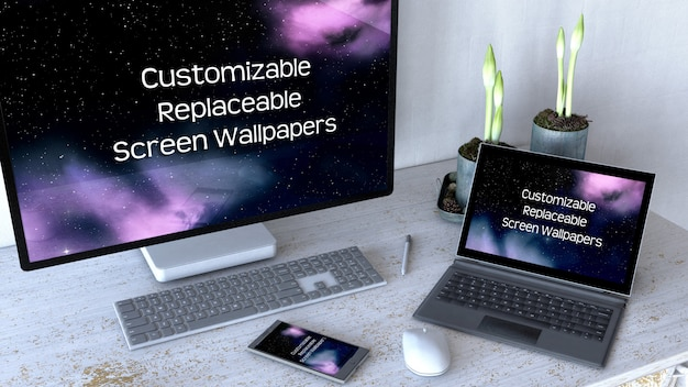 Редактируемый офисный стол макет с компьютерным оборудованием