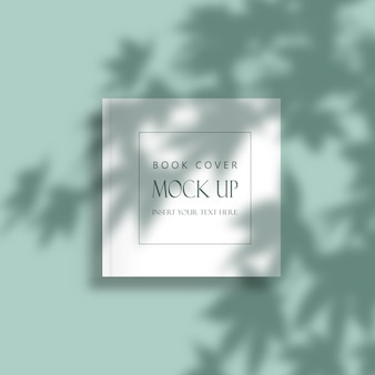 Редактируемая минимальная обложка книги макет с наложением тени листьев
