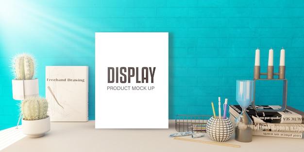 棚に空白の写真が表示されたモックアップの編集可能な製品ディスプレイ