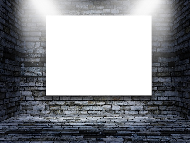 グランジのレンガの部屋で空白の画像の編集可能なモックアップ