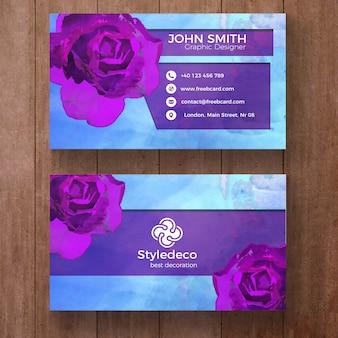 Визитная карточка с фиолетовыми розами