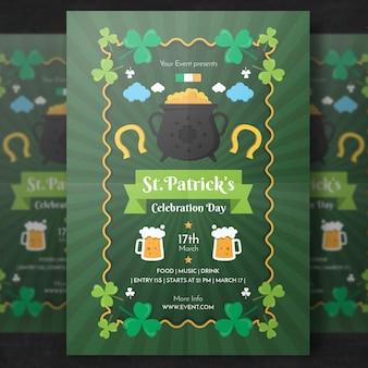 Макет зеленого плаката для дня святого патрика