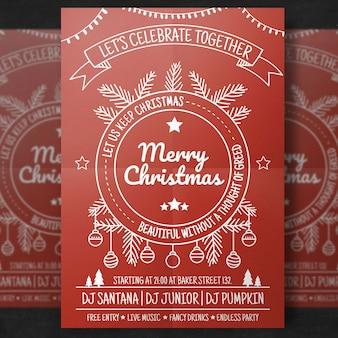赤のシンプルなクリスマスチラシテンプレート