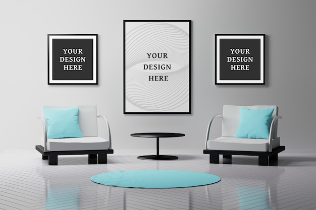 Внутренний интерьер с тремя пустыми пустыми рамками для картин и двумя креслами, подушками, ковром и журнальным столиком