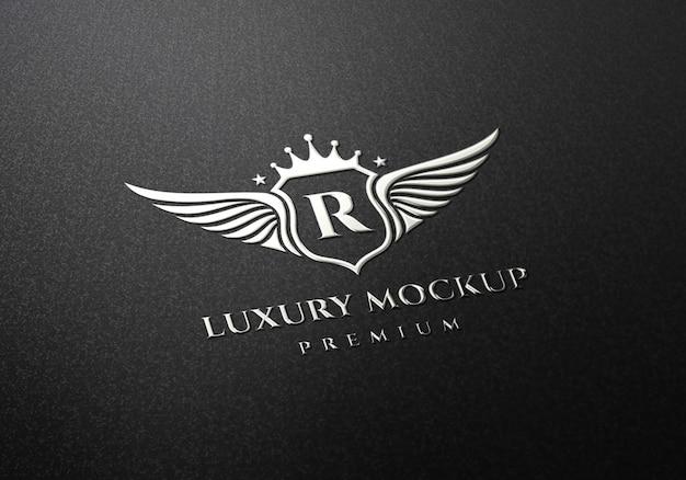Серебряный логотип макет
