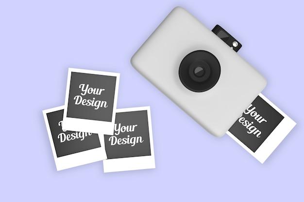 ポラロイドカメラと写真のモックアップ