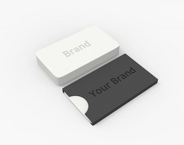 Визитница макет с белой визиткой
