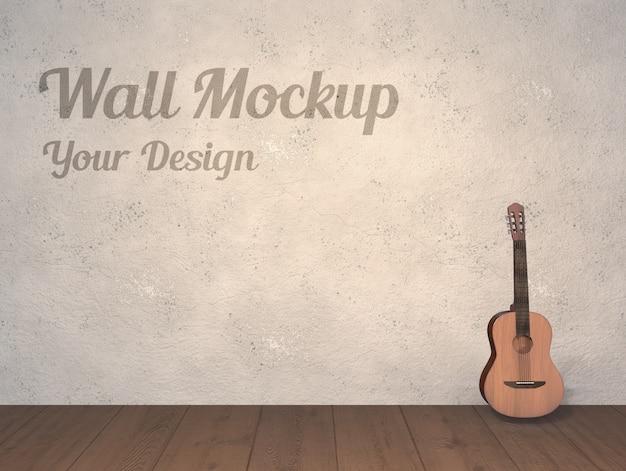 スペインのクラシックギターと壁のモックアップ
