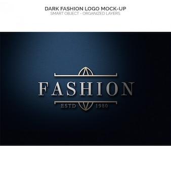 Темная мода логотип макете