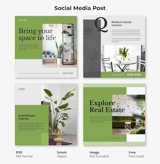 インテリアと花の編集可能なソーシャルメディア投稿バナー