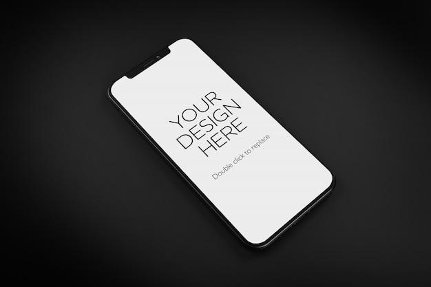 黒の背景にスマートフォンのモックアップのビュー