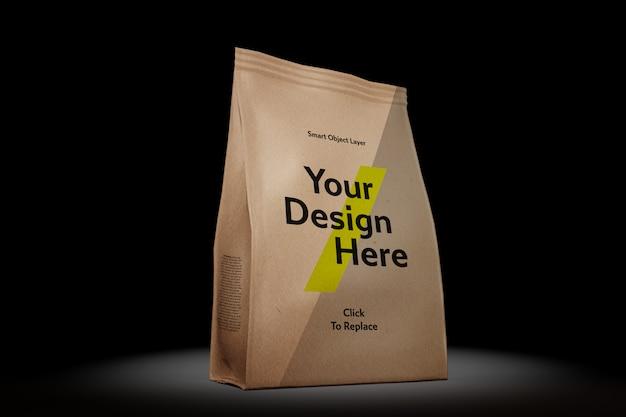 ティアアウェイタブモックアップ付きの小袋の表示