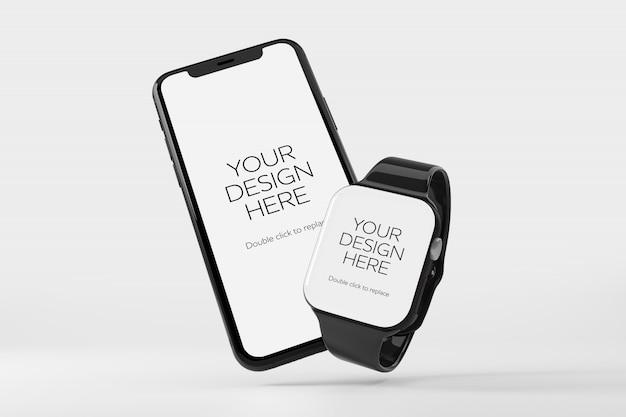 スマートフォンとスマートウォッチのモックアップ