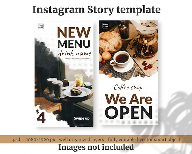 Новое меню кофе, открывающее социальные медиа истории, баннер, шаблон