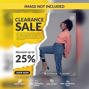 Распродажа, мода, скидка, предложение, пост в социальных сетях, шаблон сообщения