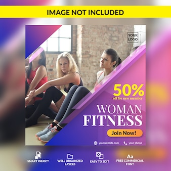 Женщина фитнес открытый член специальные скидки предлагают социальные медиа пост шаблон