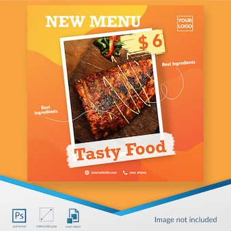 食べ物や飲み物の新しいメニューソーシャルメディア投稿テンプレート