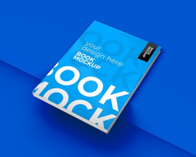 青の上の本のモックアップ
